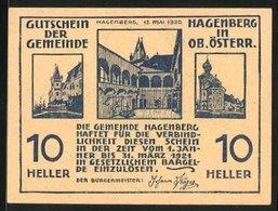 Notgeld Hagenberg 1921, 10 Heller, Mann Mit Pferdepflug - Austria