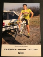 Stefano Allocchio - Italbonifica Navigare - 1990 - Card / Carte - Cyclist - Cyclisme - Ciclismo -wielrennen - Cycling