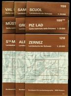9 X Topographische Karte / Landeskarte Schweiz  -  1:25 000  -  Bundesamt Für Landespopographie - Maps Of The World