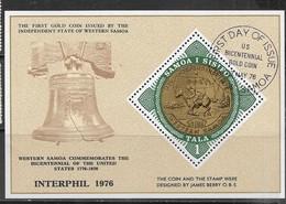 Samoa  1976  Sc#437  US Bicentennial Souv Sheet  Used  2016 Scott Value $2.75 - Samoa