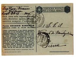 CARTOLINA POSTALE PER LE FORZE ARMATE  1942 ALLA MEMORIA DEL FANTE ROSARIO RANDAZZO - 1900-44 Vittorio Emanuele III