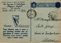 CARTOLINA POSTALE PER LE FORZE ARMATE SCUOLE  C.R.E.M. POLA 1943 - 1900-44 Vittorio Emanuele III
