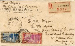7 -1 -1931 - 1 Er Service Aérien  CAYENNE  -SAN JUAN -NEW YORK  ( Saulgrain N°33 ) - Guyane Française (1886-1949)