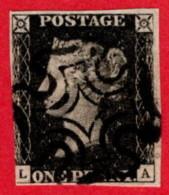 GBR SC #1 U (L,A) 1840 Queen Victoria 3 Margins W/black MC Cancel CV $360.00 - 1840-1901 (Victoria)