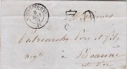LAC De Nuits-Saint-Georges (21) Pour Beaune (21) - 7 Mai 1857 - CAD Rond Type 15 + Taxe Double Trait 30 - 1849-1876: Période Classique