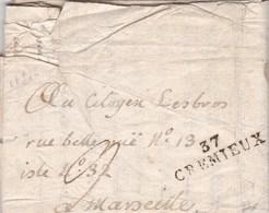 LAC De Crémieu (38) Pour Marseille (13) - 4 Juin 1797 - Taxe Manuelle 9 + ML 37 CREMIEUX - Marcofilie (Brieven)