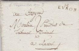 LAC De Evron (53) Pour Laval (53) - 6 Thermidor An 9 (25 Juillet 1801) - Taxe Manuelle 2 + ML 51 EVRON - 1801-1848: Precursors XIX