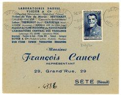 HERAULT ENV 1949 SETE OMEC N°847 SEUL SUR LETTRE AU TARIF ET DANS LA PERIODE NON COMPLAISANT - 1921-1960: Periodo Moderno