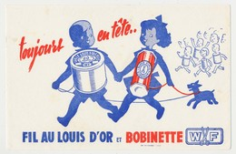 Buvard  21 X 13.4  W F Fil Au Louis D'or Et Bobinette  Couple D'enfants Chien - Textile & Clothing
