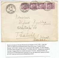 GANDON 10FR VIOLET BANDE DE 4 LETTRE OBERBETSCHDORF 20.5.1949  POUR SUISSE AU TARIF 2EME - 1945-54 Marianne De Gandon