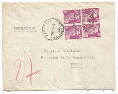 GANDON 10FR VIOLET BLOC DE 4 PNEUMATIQUE PARIS 109 24.9.1948 TARIF 2EME - 1945-54 Marianne De Gandon