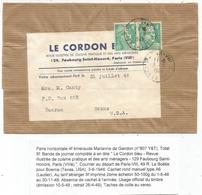 GANDON 4FR VERT PAIRE BANDE COMPLETE PARIS 3.6.1948 POUR USA AU TARIF 2EME - 1945-54 Marianne De Gandon