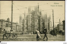 Etg Italie Milano Piazza Del Duomo Animee 1912 Neuve - Italy