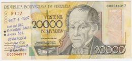 Venezuela P 86 B - 20.000 Bolivares 13.8.2002 - Fine+ - Venezuela