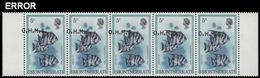 MONTSERRAT 1981 Fish Spadefish 5c 5-strip OVPT:OHMS ERROR:shifting - Montserrat