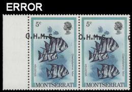 MONTSERRAT 1981 Fish Spadefish 5c MARG.PAIR OVPT:OHMS ERROR:big Shift - Montserrat