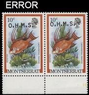 MONTSERRAT 1981 Hogfish Fish 10c MARG.PAIR OVPT:OHMS ERROR:ovpt.shift - Montserrat