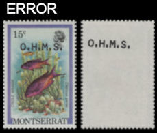 MONTSERRAT 1981 Hogfish Fish 15c PAIR OVPT:OHMS ERROR:offs.rev - Montserrat