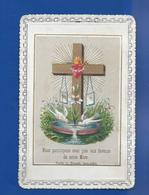 Image Religieuses  Dentellée    Croix Et Colombes - Andachtsbilder