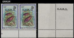 MONTSERRAT 1981 Hogfish Fish 15c MARG.PAIR OVPT:OHMS ERROR:offs.rev.1 Atamp - Montserrat