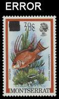 MONTSERRAT 1983 Fish Hogfish 70c On 10c/ ERROR:on Wrong Val. 2x - Montserrat
