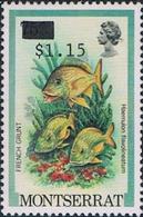 MONTSERRAT 1983 French Grunt Fish OVPT.1.15 On 75c ERROR:ovpt Wrong Stamp - Montserrat