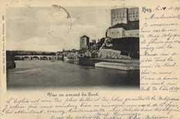 Huy Vue En Amont Du Pont Precurseur 1899 RV  Beau Timbre 10 Vers Damas Syrie - Huy