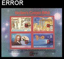 MONTSERRAT 1987 Halley's Comet Capex 40c-$3 Purple Border IMPERF: ERROR:OVPT 2x - Montserrat