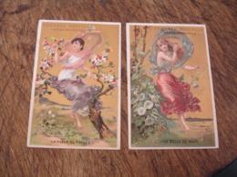 Lot De 2 Femme Fleurs Belle De Nuit  Fleur De Pecher Casiez Bourgeois Chromo - Chromo