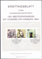 BRD FGR RFA - XIX. UPU-Kongress (MiNr: Bl. 19) 1984 - ETB 13/1984 - BRD