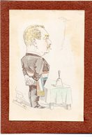 Gravure (originale???)  Montée Sur Carton Signée Yan Metteix  (un Homme Politique ) (PPP22912) - Art Populaire