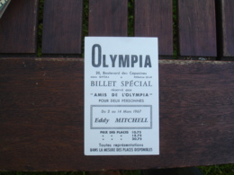 Olympia Ticket Entree Ami De L Olympia Eddy Mitchell - Tickets D'entrée