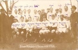 Cpa De Rugby, Les Joueurs Du Stade Bordelais Université Club, Carte-photo De 1907, Capitaine Giaccardy - Rugby