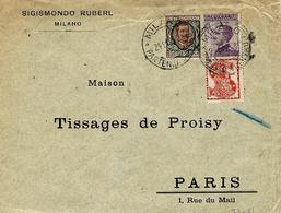 1924- Busta Affr. 1,50 Lit - Con 50 C Michetti  SINGER  Per Parigi - Marcofilía