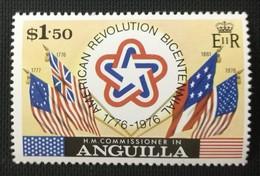 141.ANGUILLA ($1.50) 1976 STAMP UNITED STATES BICENTENNIAL , AMERICAN REVOLUTION, FLAGS .  MNH - Anguilla (1968-...)