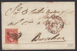 Pli De ALCOY De 1853 Avec 6 Cu Oblt « Parilla Negra » + Cachet à Date Rouge ALCOY  VALENCIA Pour BARCELONA. - 1850-68 Royaume: Isabelle II