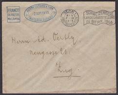 FRANC0 OBERPOSTDIREKTION BERN 1.IX.1913 /  NACH ZUG GELAUFEN - Portofreiheit