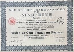 Indochine - Sté Des Charbonnages De Ninh-Binh - Action De 100 F - 1929 - Asie