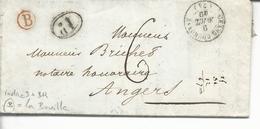 74 Grand Couronne T15 Taxe Manus.6 >> Angers 1décime Noir Br B La Bouille 1840 Papier Entête Me Innocent Notaire - 1801-1848: Voorlopers XIX