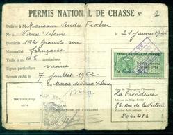 FRANCE Permis National De Chasse Avec 5 Timbres Fiscaux 1963 / 1967 De Vaux Sur Seine Cote Des Timbres : + 100 €. - Fiscaux