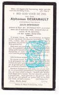 DP Alphons Desramault ° Ieper 1879 † 1929 X Julia Deweerdt - Devotion Images