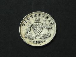 RARE !!!!!    AUSTRALIE - 3 Three Pence 1912 -Georgius V  ***** EN ACHAT IMMEDIAT ***** - Monnaie Pré-décimale (1910-1965)