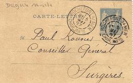 1887- Carte-lettre E P 15 C Sage A-oblit. DAGUIN Mixte De ROCHEFORT S/ MER/ CHAR. INFre - Marcophilie (Lettres)