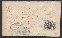 Pli De ? De 1864 Avec Una Onza Noir/Rose Clair Oblt Cachet à Date Noir Pour BARCELONA - 1850-68 Regno: Isabella II