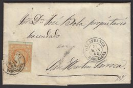 Pli De VILLAFRANCA De 1862 Avec 4 Cu Orange/Vert Pale Oblt Petit Cachet à Date Noir VILLAFRANCA BARCELONA Pour St MARTIN - Cartas