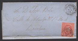 Pli De VILLAFRANCA De 1864 Avec 4 Cu Rose/Saumon Oblt Petit Cachet à Date Noir VILLAFRANCA BARCELONA Pour BARCELONA. - 1850-68 Königreich: Isabella II.