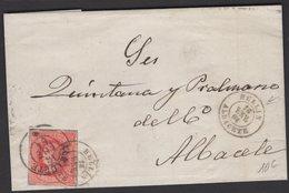 Pli De HELLIN De 1864 Avec 4 Cu Rose/Saumon Oblt Petit Cachet à Date Noir HELLIN ALBACETE Pour ALBACETE. - 1850-68 Königreich: Isabella II.