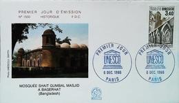 UNESCO - FDC - 1986 - MOSQUEE SHAIT GUMBUL MASJID Au Bangladesh (Oblitération Paris)  Enveloppe Premier Jour - Islam