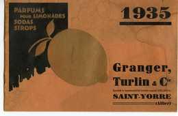 SAINT-YORRE ALLIER 1935 GRANGER TURLIN & Cie BROCHURE DE PRIX DES PARFUMS POUR LIMONADES SODAS SIROPS - France