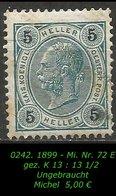 Österreich - Mi. Nr. 72 E - Gez. K  13 : 13 1/2 In Ungebraucht - 1850-1918 Imperium